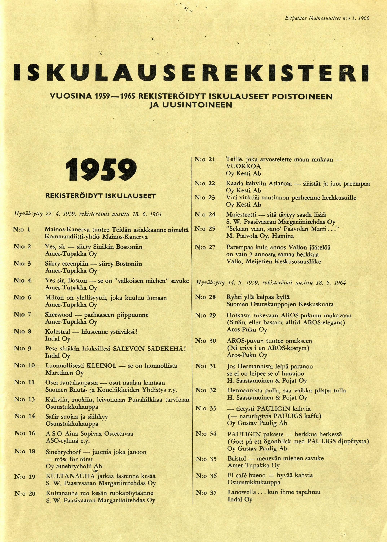Iskulauserekisteri vv 1959 - 1965, sivu 1