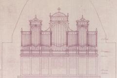 Piirustus Puumalan urkujen fasadista